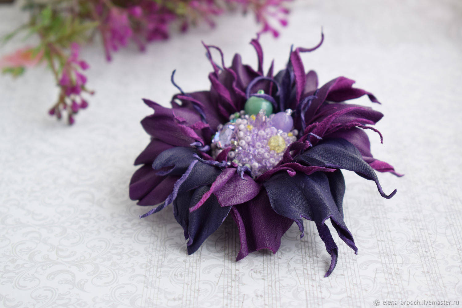 home violet blueberry brooch exotic handmade
