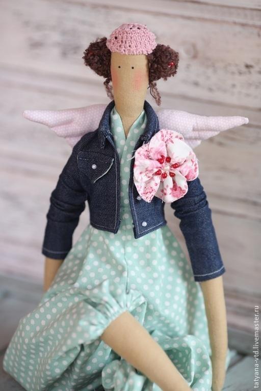 Куклы Тильды ручной работы. Ярмарка Мастеров - ручная работа. Купить Ангел в джинсовой куртке Тильда. Handmade. Мятный