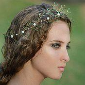 Украшения handmade. Livemaster - original item Elven diadem, a twig on her hair, green decoration in her hair. Handmade.