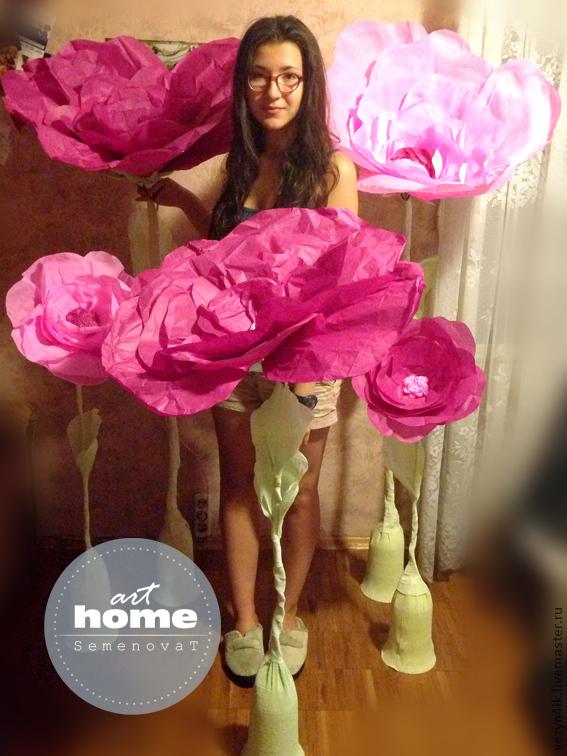Большие цветы для украшения зала своими руками фото 581