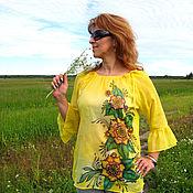 """Одежда ручной работы. Ярмарка Мастеров - ручная работа Блузка """"Цветы лета"""" - батик, хлопок. Handmade."""
