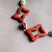 Украшения handmade. Livemaster - original item Choker collar. Red Jasper carved beads friform, brass. Handmade.