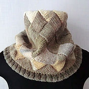 Аксессуары handmade. Livemaster - original item Beige knitted Snood scarf tube interlock. Handmade.