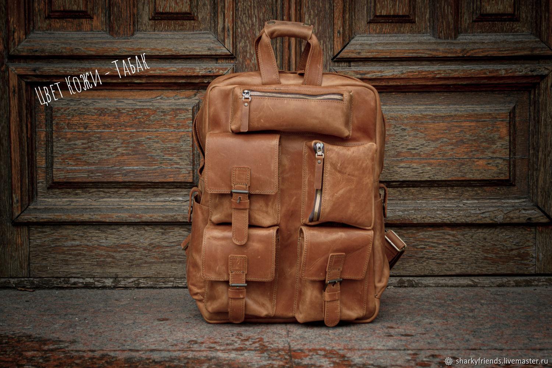 Кожаный мужской рюкзак. Винтажный походный рюкзак, Мужской рюкзак, Днепр,  Фото №1