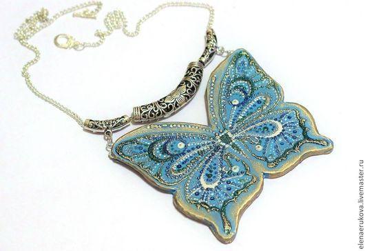 Колье, бусы ручной работы. Ярмарка Мастеров - ручная работа. Купить Голубая бабочка. Handmade. Голубой, этно