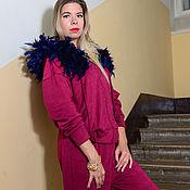 Одежда ручной работы. Ярмарка Мастеров - ручная работа Бордовый костюм с перьями. Handmade.