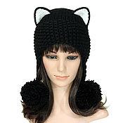 Аксессуары handmade. Livemaster - original item Hat with Cat ears, at the nape braid, knitted womens. Handmade.