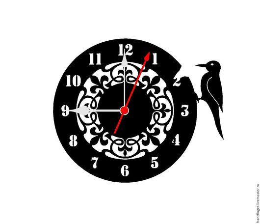 Часы для дома ручной работы. Ярмарка Мастеров - ручная работа. Купить Часы с дятлом. Handmade. Украшения для интерьера, подарок на новый год
