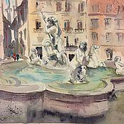 """Картины и панно ручной работы. Ярмарка Мастеров - ручная работа """"Фонтан на Пьяцца Навона, Рим"""", акварель. Handmade."""