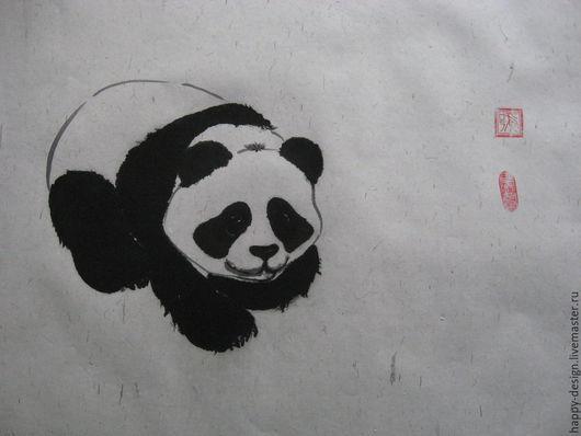 Животные ручной работы. Ярмарка Мастеров - ручная работа. Купить Панда. Handmade. Чёрно-белый, подарок на любой случай, картина