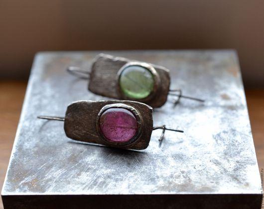 """Серьги ручной работы. Ярмарка Мастеров - ручная работа. Купить """"Perni"""", турмалин, серебро. Handmade. Розовый, серьги с турмалинами"""