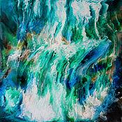 Картины и панно handmade. Livemaster - original item Painting for the interior of an epoxy resin Waterfall.70 by 70 cm. Handmade.