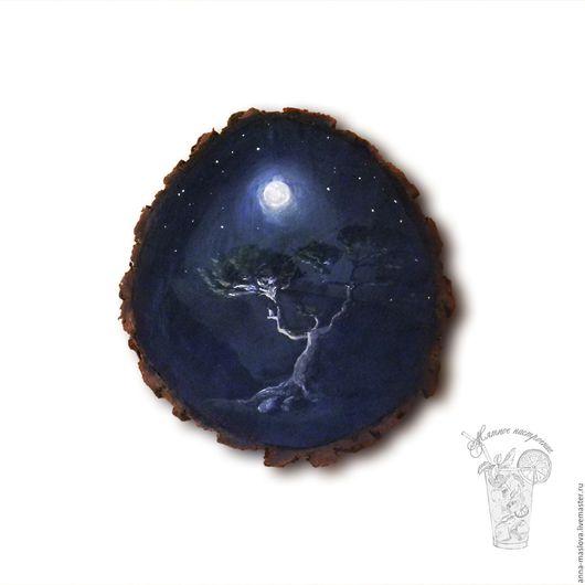 """Пейзаж ручной работы. Ярмарка Мастеров - ручная работа. Купить """"Ночь"""" картина на срезе сосны (ключница) черный, белый. Handmade."""