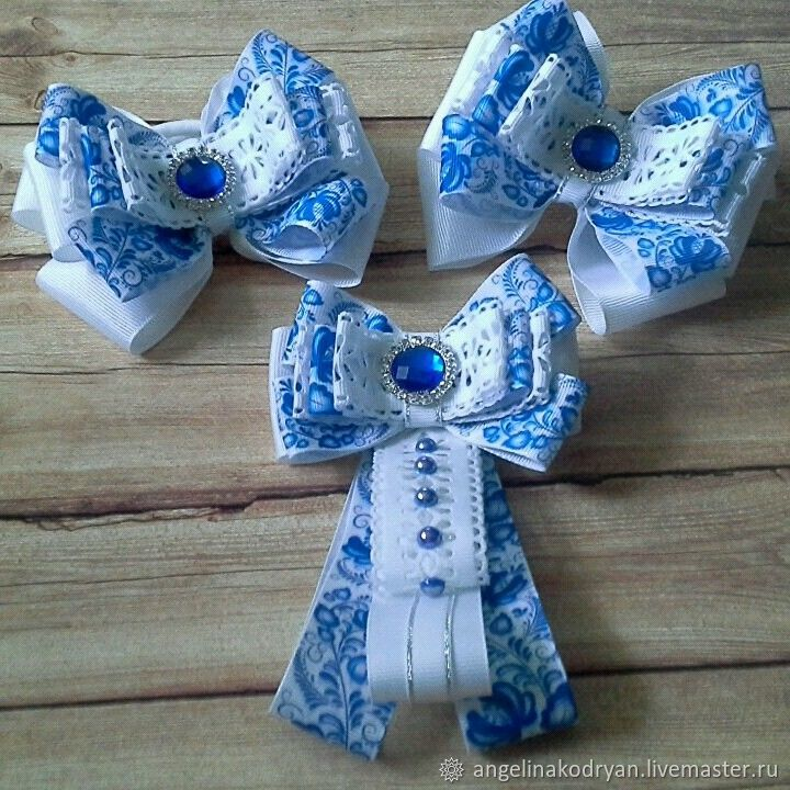 Set of bows and bow-brooch 'Gzhel' on September 1 in the school, Knot hair bow, Belgorod,  Фото №1
