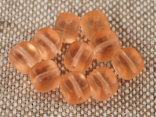 Для украшений ручной работы. Ярмарка Мастеров - ручная работа. Купить Бусины Кубик персиково-розовые 7мм, стекло (уп. 10шт). Handmade.