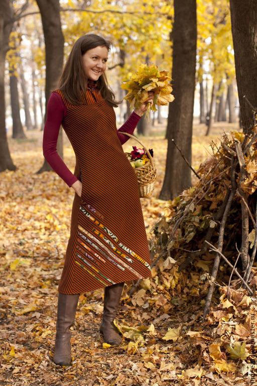 """Платья ручной работы. Ярмарка Мастеров - ручная работа. Купить платье """"Осень"""". Handmade. Коричневый, осень"""