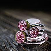 """Украшения ручной работы. Ярмарка Мастеров - ручная работа Комплект колец 17,5""""Розовые розы"""" 2. Handmade."""