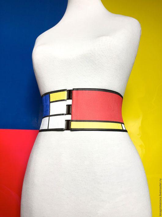 Пояса, ремни ручной работы. Ярмарка Мастеров - ручная работа. Купить пояса-резинки Мондриан 95 эластичные для любой одежды. Handmade.