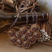Украшения ручной работы. Ярмарка Мастеров - ручная работа Honeycomb медовое колье из бисера и стекляруса. Handmade.