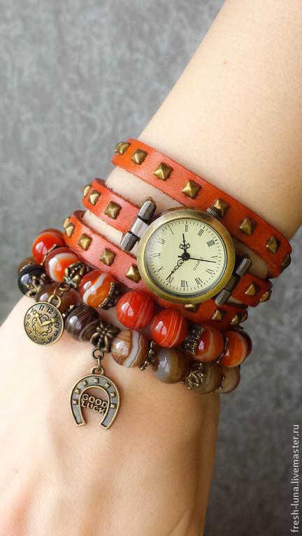 Браслеты ручной работы. Ярмарка Мастеров - ручная работа. Купить Сет Время. Handmade. Рыжий, часы, кожаный браслет