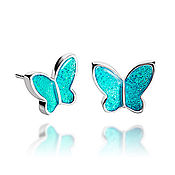 Украшения handmade. Livemaster - original item Aquamarine butterfly jewelry for her