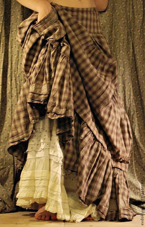 Многоярусная юбка из вареного плотного хлопка