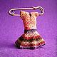 Броши ручной работы. Ярмарка Мастеров - ручная работа. Купить Брошь из бисера Платье 3D. Handmade. Разноцветный, подарок