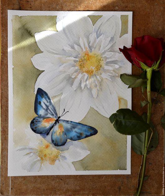 """Картины цветов ручной работы. Ярмарка Мастеров - ручная работа. Купить Картина акварелью """"Бабочка и георгины"""". Handmade. Комбинированный"""