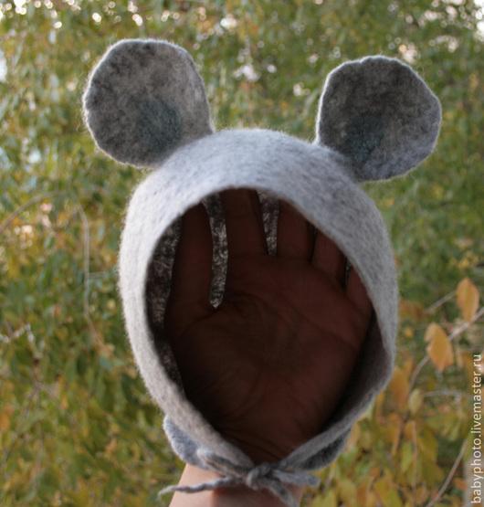 """Для новорожденных, ручной работы. Ярмарка Мастеров - ручная работа. Купить Детская шапочка с ушками """"Мышонок"""". Handmade. Шапочка с ушками"""
