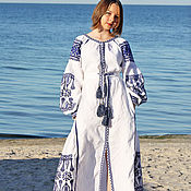 Одежда handmade. Livemaster - original item Embroidered linen dress in ethno style. Handmade.