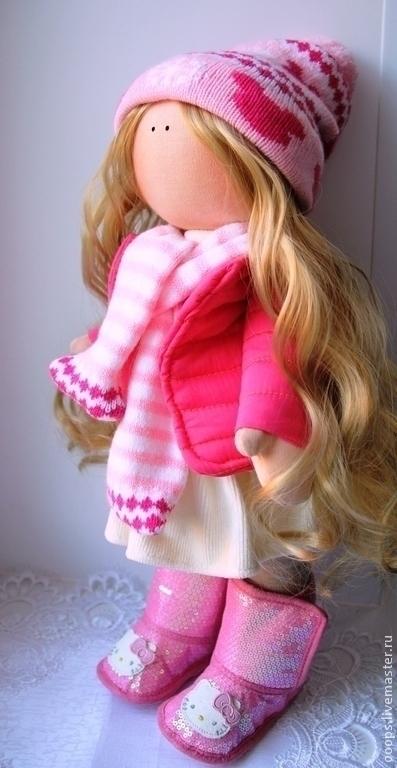 Коллекционные куклы ручной работы. Ярмарка Мастеров - ручная работа. Купить Интерьерная текстильная кукла. Handmade. Розовый, gjlfhjr, пайетки
