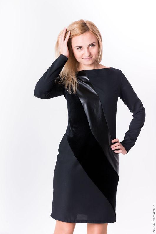 Платья ручной работы. Ярмарка Мастеров - ручная работа. Купить Чёрное платье футляр. Handmade. Черный, Платье нарядное, полиэстер
