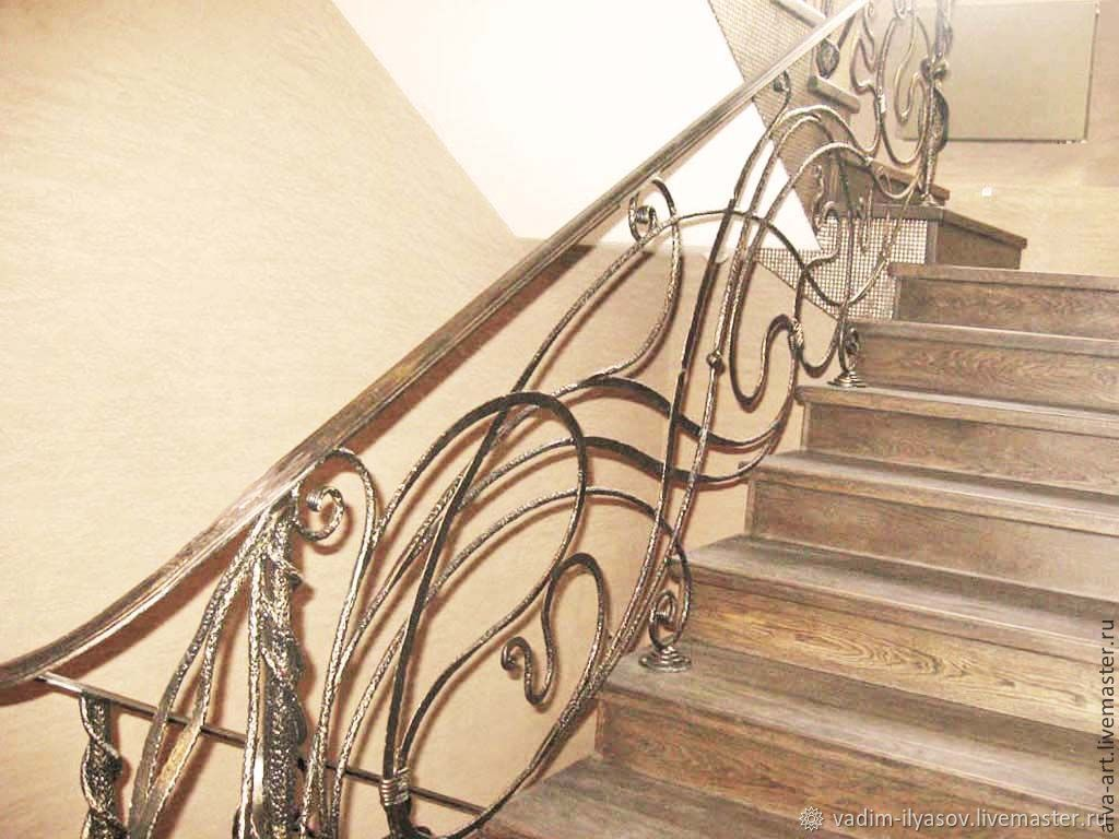 Wrought iron stair railing ' Catalonia ', Stairs, Zelenograd,  Фото №1