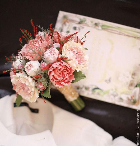 Свадебные цветы ручной работы. Ярмарка Мастеров - ручная работа. Купить Букет невесты Персиковый. Handmade. Персиковый, свадьба