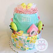 Подарки для новорожденных, ручной работы. Ярмарка Мастеров - ручная работа Торт из подгузников на рождение девочки. Handmade.