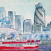 Картина городской пейзаж Прохладный Лондон холст на подрамнике