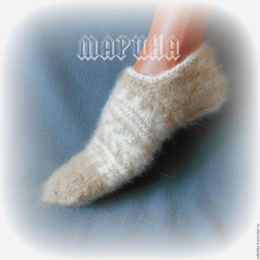 Носки, Чулки ручной работы. Ярмарка Мастеров - ручная работа. Купить СЛЕДОЧКИ собачий пух носки. Handmade. Однотонный