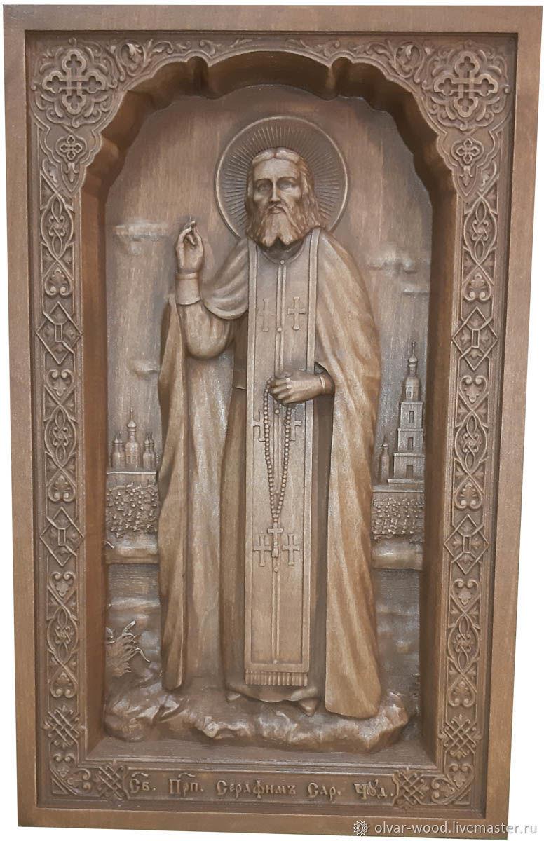 Резная икона из бука Святой Серафим Саровский, Иконы, Москва,  Фото №1