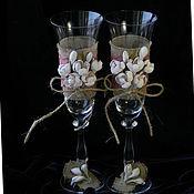 Свадебный салон handmade. Livemaster - original item Rustic Wedding Glasses, Wedding Flutes, Toasting Flutes, Weddings. Handmade.