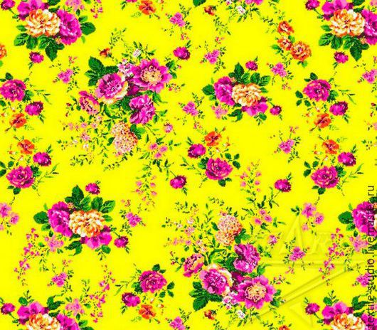 Шитье ручной работы. Ярмарка Мастеров - ручная работа. Купить Вафельное полотно Цветы на желтом 150 см. Handmade. Желтый