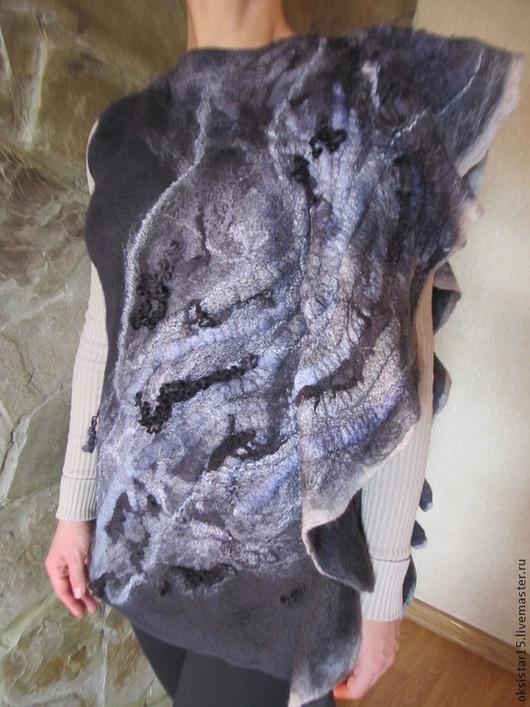 """Кофты и свитера ручной работы. Ярмарка Мастеров - ручная работа. Купить Авторская валяная туника- топ """"Ночной ветер"""" (нуно-войлок). Handmade."""