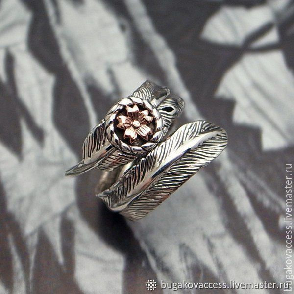 Ring Flower with feather dimensionless silver 925 jewelry and brass, Rings, Moscow, Фото №1