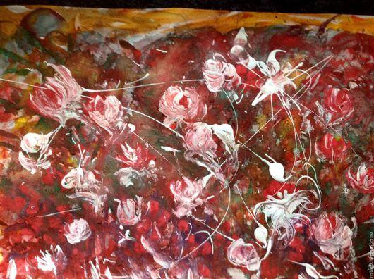 Абстракция ручной работы. Ярмарка Мастеров - ручная работа. Купить Цветы на красном. Смешанная техника.. Handmade. Ярко-красный