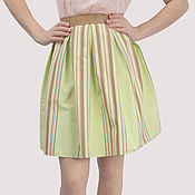 Одежда handmade. Livemaster - original item Green cotton short striped skirt with a leather belt. Handmade.