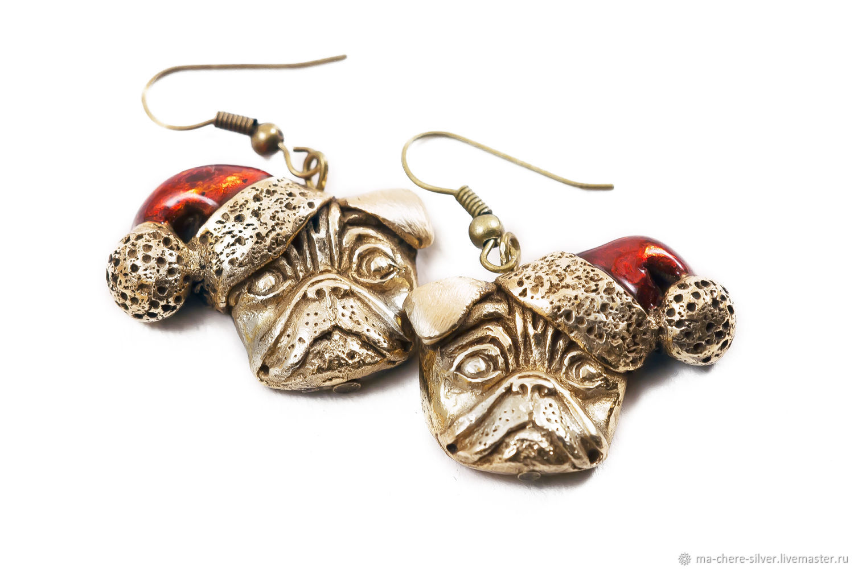 Bronze earrings CHRISTMAS PUG, Earrings, Rostov-on-Don,  Фото №1