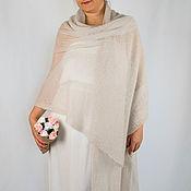 Аксессуары handmade. Livemaster - original item Knitted stole made of kidmocher, milky with a gray shade. Handmade.