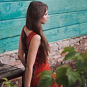 Одежда handmade. Livemaster - original item Red sheath dress with black lace. Handmade.