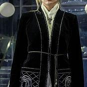 Одежда ручной работы. Ярмарка Мастеров - ручная работа Smart Casual. Пиджак бархатный с вышивкой.. Handmade.