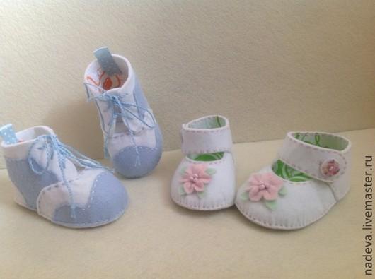 Обувь ручной работы. Ярмарка Мастеров - ручная работа. Купить пинетки из фетра. Handmade. Разноцветный, голубой, белый, пастельные тона