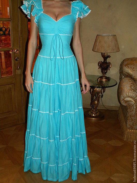 Платья ручной работы. Ярмарка Мастеров - ручная работа. Купить Платье. Handmade. Бирюзовый, однотонный, платье, сарафан, воланы, кружево
